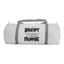 GRUMPY overworked underpaid NURSE (blk) Duffle Bag