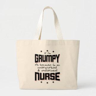 GRUMPY overworked underpaid NURSE (blk) Large Tote Bag