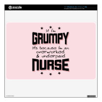 GRUMPY overworked underpaid NURSE (blk) MacBook Air Decals