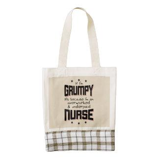 GRUMPY overworked underpaid NURSE (blk) Zazzle HEART Tote Bag