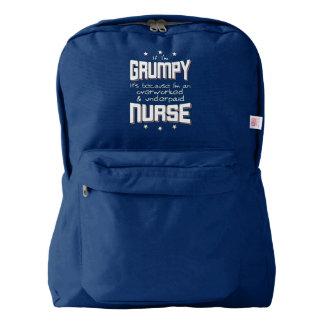 GRUMPY overworked underpaid NURSE (wht) American Apparel™ Backpack