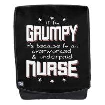 GRUMPY overworked underpaid NURSE (wht) Backpack