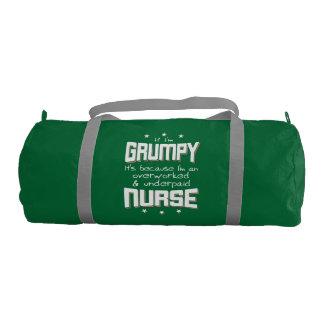 GRUMPY overworked underpaid NURSE (wht) Gym Bag