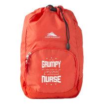 GRUMPY overworked underpaid NURSE (wht) High Sierra Backpack