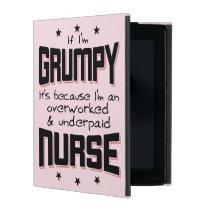 GRUMPY overworked underpaid NURSE (wht) iPad Cover