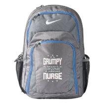 GRUMPY overworked underpaid NURSE (wht) Nike Backpack