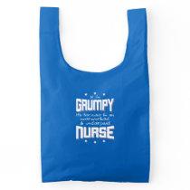 GRUMPY overworked underpaid NURSE (wht) Reusable Bag