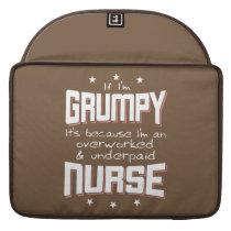 GRUMPY overworked underpaid NURSE (wht) Sleeve For MacBooks