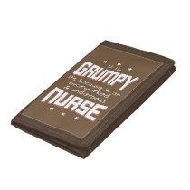 GRUMPY overworked underpaid NURSE (wht) Tri-fold Wallet