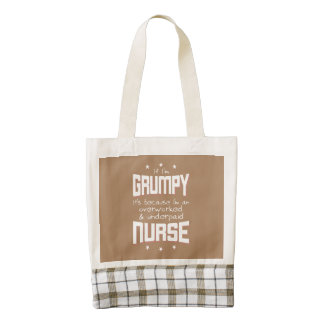 GRUMPY overworked underpaid NURSE (wht) Zazzle HEART Tote Bag