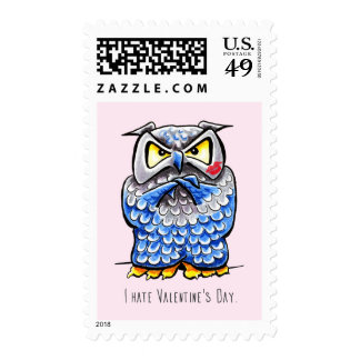Grumpy Owl Hate Valentines Day Postage
