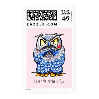 Grumpy Owl Hate Valentines Day Postage Stamp