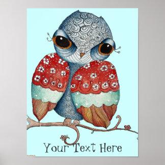 Grumpy Owl Poster for Children