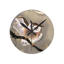 Grumpy Owl Round Clock