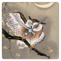 Grumpy Owl Square Wall Clock