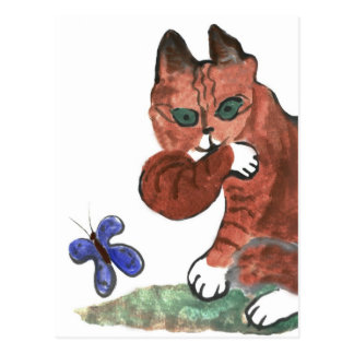 Grumpy Paws Eyes an Etheral Butterfly Postcard