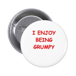 grumpy pinback button