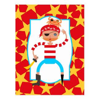Grumpy pirate and crab friend postcard
