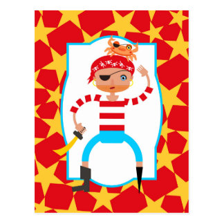 Grumpy pirate playing with crabs post card