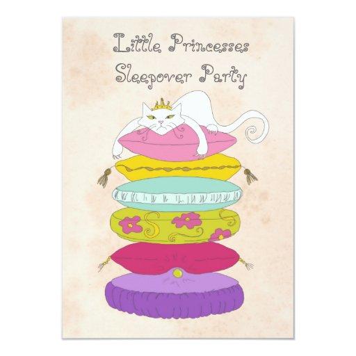 Grumpy princess cat and pea birthday Invites