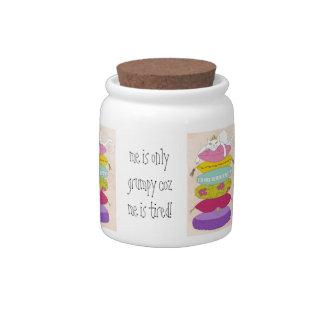 Grumpy princess cat and the pea cartoons candy jars