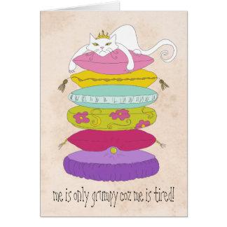Grumpy princess cat and the pea cartoons card