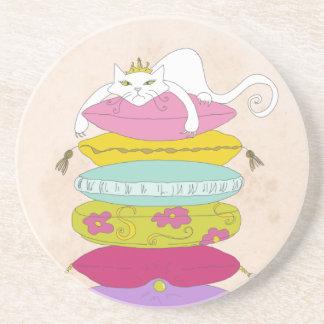 Grumpy princess cat and the pea cartoons drink coasters