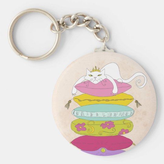 Grumpy princess cat and the pea cartoons keychain