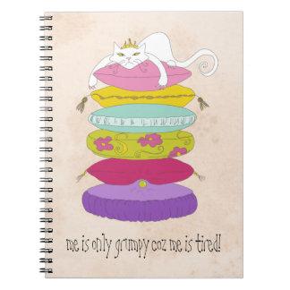 Grumpy princess cat and the pea cartoons notebook