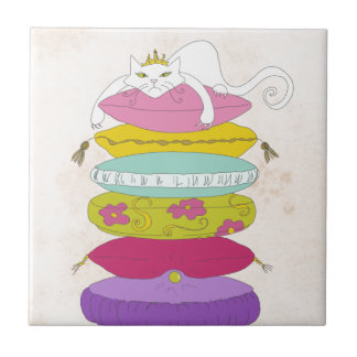 Grumpy princess cat and the pea cartoons small square tile