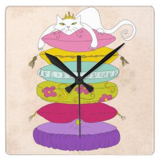 Grumpy princess cat and the pea cartoons square wall clock