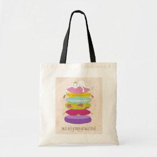 Grumpy princess cat and the pea cartoons tote bag