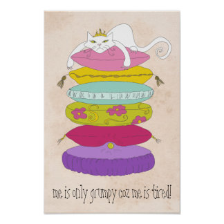 Grumpy princess cat and the pea colorful posters