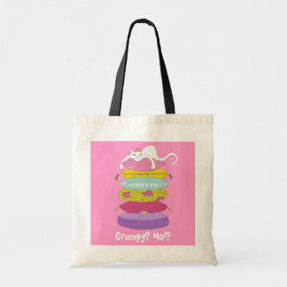 Grumpy princess cat and the pea tote bags