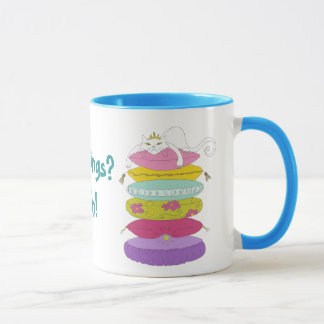 Grumpy princess cat and the pea whimsical mugs