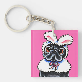 Grumpy Pug Bunny Keychain