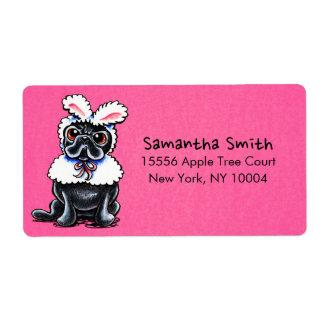 Grumpy Pug Bunny Pink Casual Label