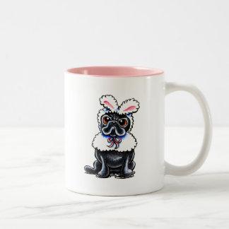 Grumpy Pug Bunny Two-Tone Coffee Mug