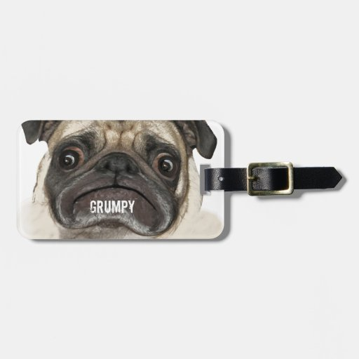 Grumpy Puggy Gifts Tag For Bags
