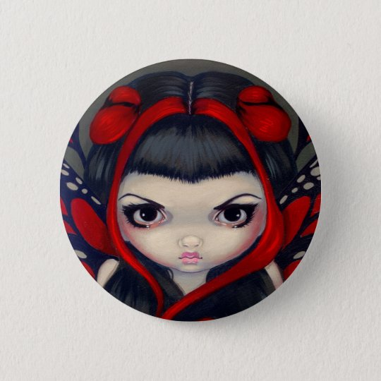 Grumpy Red Fairy Button