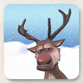 Grumpy  Reindeer coasters cork back - set of 6