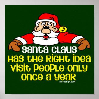 Grumpy Santa Claus Humor Print
