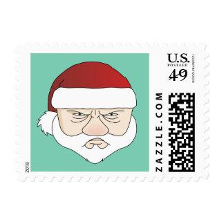 Grumpy Santa Postage Stamp