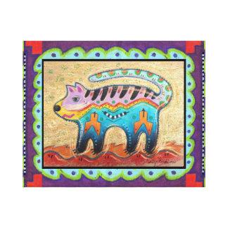Grumpy Southwest Folk Art Cat Canvas Print