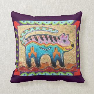Grumpy Southwestern Folk Art Cat Pillow
