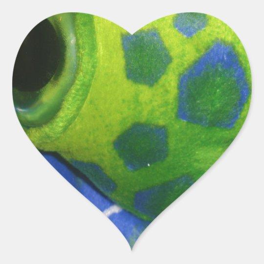 Grumpy Turtle Colorful Green Heart Sticker