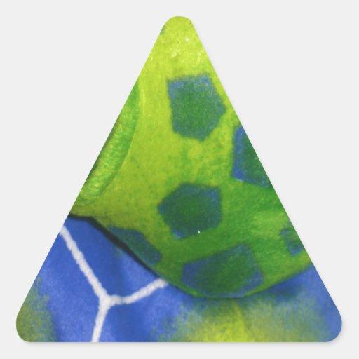 Grumpy Turtle Colorful Green Triangle Sticker