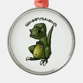 Grumpysaurus dinosaur being grumpy! metal ornament