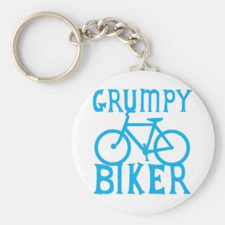 GRUMY BIKER with bicycle in blue Keychain