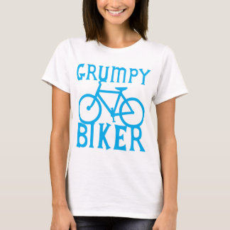 GRUMY BIKER with bicycle in blue T-Shirt